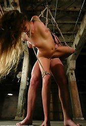 Gorgeous girl gets fucked hard in tight bondage