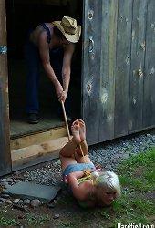 Farm bondage - Farm girl locked in massive stock