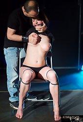 Ball-gagged and breast bondaged busty subgirl punished hard in bdsm
