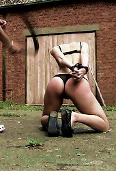 Long legged girl in lingerie gets punished outdoor